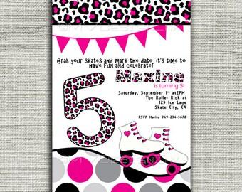 Roller Skating Birthday Party Invitations, Roller Skating Invitation, Roller Skating Party Invitation, Girls Roller Skate Party Invitations