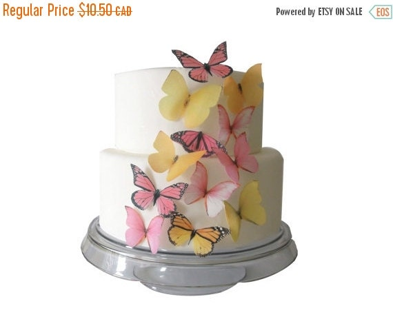 SALE Cake Cupcake Toppers WAFER PAPER Edible Butterfly Cake Decorations - 12 Edible Butterflies Yellow and Pink - Spring Wedding Cupcake Top