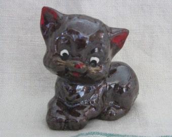 Brown Kitty Cat Figure Made In Japan Iridescent Glaze Sitting Kitten