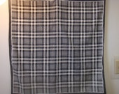 Large Square Geometric Black white Check Plaid Scarf Wrap Ascot Cravat