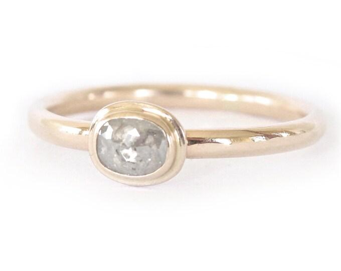Diamond Ring- Rose Cut Diamond Slice in 14K Gold- Engagement Ring