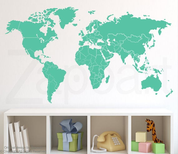 World map wall decal with countries borders like this item sciox Choice Image