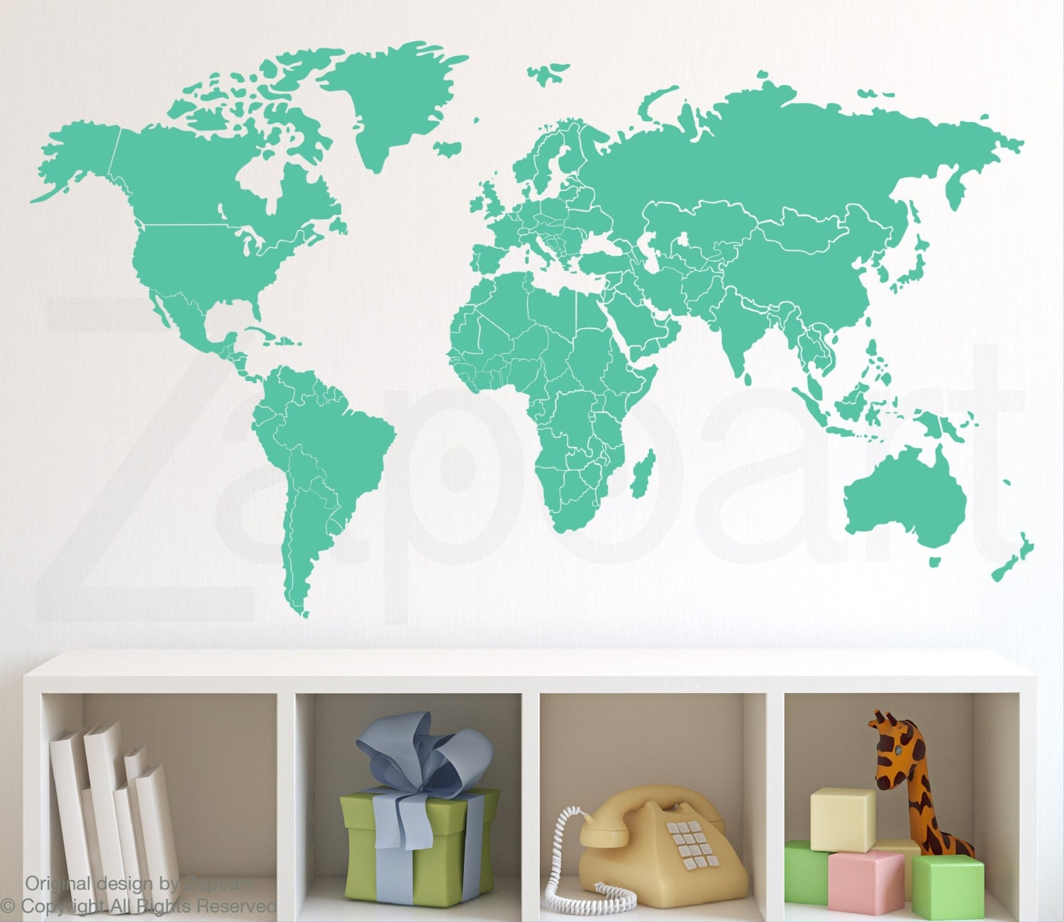 World map wall decal with countries borders zoom amipublicfo Gallery