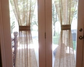 French Grainsack Burlap 1pc Custom Made -Rod Pocket Curtain Window Drapery Treatments Glass Doors