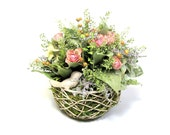 Dried Floral Arrangement with Bird, Bird Nest Arrangement, Dried Flowers