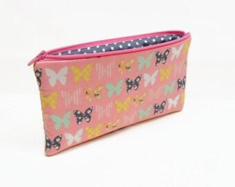 zipper pouch pencil case makeup bag butterflies pink