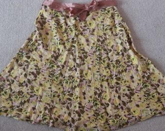 Yellow & dusky pink floral cotton skirt with silk belt waistband Heart Moon Star 32 in waist