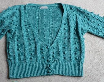 Marion Foale for Margaret Howell turquoise silk linen summer cardigan uk 14