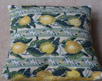 Lemons tapestry cushion cover needlepoint with linen Colefax & Fowler yellow back