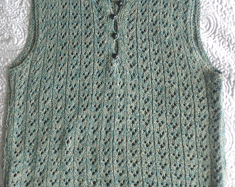 Handknitted vintage lacy sleeveless green mustard marled cotton top M