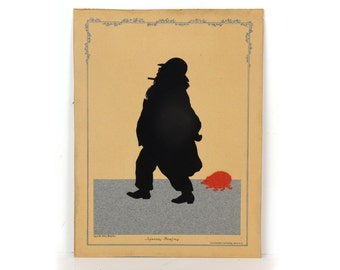 antique silhouette, Johannes Brahms, Otto Bohler, 1906, hand constructed, Red Hedgehog Tavern, ephemera, music lover, musician gift,