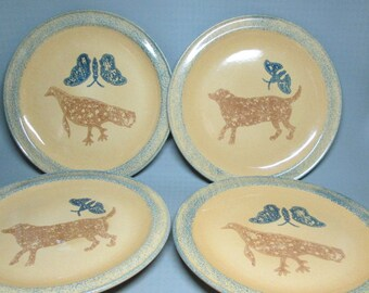 Pfaltzgraff 4 large plates , chop  plate , dog + butterfly , bird + butterfly