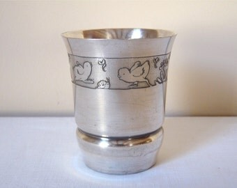 BABY 1950 french vintage silverware Baby Tumbler French Antique Silver Baby Cup. New Baby Gift. Silver Plate Goblet. Silver Cup.