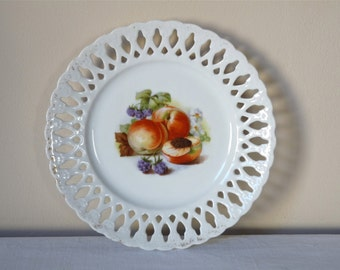 shabby chic french vintage plate perforated white porcelain Peach transfer. Fruit