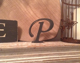 Painted Wooden Letter, P - Freestanding - Corsiva Font - Various sizes, finishes and colours - 30cm