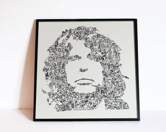 """Steven Tyler - Aerosmith - Doodle portrait with stories and details - Music Wall Art - Ltd edition of 100 - 8"""" x 8"""" or 12"""" x 12 """""""
