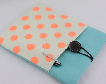 iPad Air Case, iPad Air Sleeve, iPad Air Cover, PADDED, with pocket - Orange Polka Dots