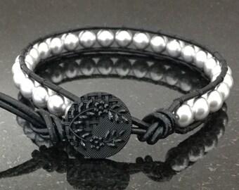 Black Leather Wrap Bracelet, Grey Swarovski Pearls, Boho Chic, Layering Bracelet