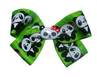 Cute Panda Couple Hair Bow