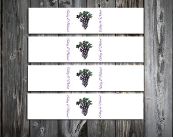 Wine Grapes Rustic Vineyard  100 Wedding Napkin Ring Cuffs Wraps. Personalized and Printed wedding napkin favors