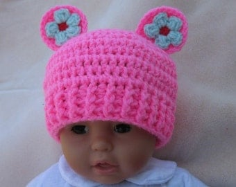 Crochet baby hat, Baby Hat with Flowers, Baby Beanie, Photo Prop Beanie, Christmas Gift, Newborn Crochet Baby Hat