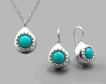 Silver turquoise set, turquoise earring, handmade jewelry, turquoise jewellery, turquoise gemstone necklace, december birthstone