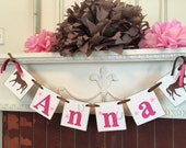 Horse Name Banner, Horse Decor , Pony Party , 1st 2nd, 6th Horse Birthday , Cowgirl Party ,  Saddle Up Birthday Decor, Custom Colors