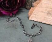 Wooden Heart - sweethear charm bracelet