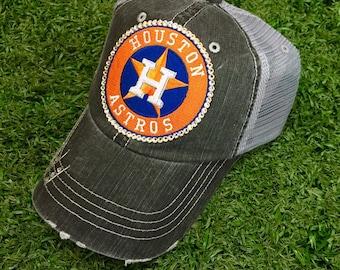 Houston Astros Baseball Bling Swarovski Ladies Womens Trucker Hat