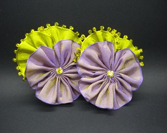 Pair Of Pansies Lavender And Golden Green Rhinestone Centers