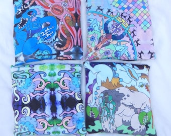 Lovecraft themed wrist rests artifact altar pillows beans and lavender monster designs Original artwork minky satin