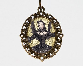 Bat Lady Necklace, Vampire, Gothic Woman, Horror Jewelry, Oval Pendant