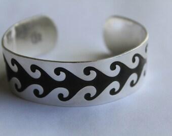Sterling Silver Bracelet Cuff - Textured Bracelet
