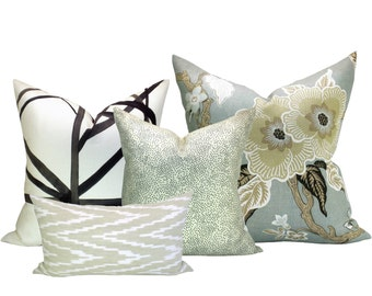 Spark Modern Curated Collection #5 - Channels Ebony/Ivory, Hothouse Flowers Mineral, Confetti Cream, and Kasari Ikat Sand - 6 pillow covers