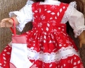 """Glittery Red & White Christmas Candy Print Pinafore  Blouse Christmas Stocking Fits American Girl Dolls or Similar 18"""" Dolls"""