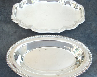 2 Vintage Silverplate Bread Trays, Silver Plate Serving Piece, Mismatched Oval Dish, Mid Century Modern, Rope Edge, Patina