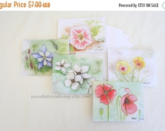 DELAYED SHIPPING thru 8/3 Note Card Set Original Watercolor Prints - Set of 5 Original Paintings Prints with Envelopes