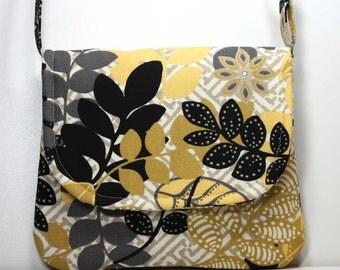 Small Foldover Crossbody Bag Small Shoulder Purse Sling Bag Hobo Bag Cross Body Bag - Black, Gold, Gray, and Yellow Leaves - Made to Order