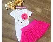 Baby's 1st Easter Outfit, Easter Bunny Dress, Baby Girl Easter Outfit, Hot Pink and Gold Easter Tutu, Bunny Easter Outfit, Easter Photo Prop