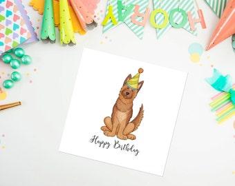 German Shepherd Birthday Card, German shepherd, birthday card, ideal for dog lovers
