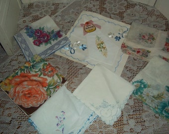 8 lot collection Vintage Hankies printed florals, hankerchiefs, hanky group, Nice condition