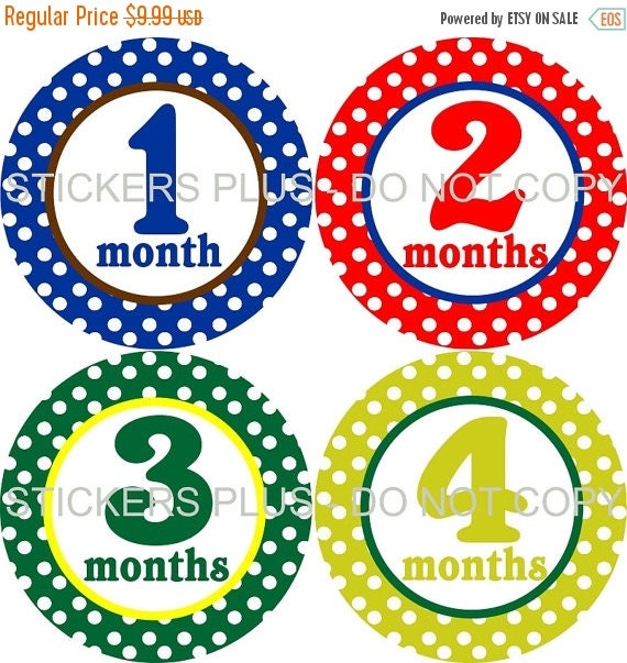 SALE Monthly Baby Boy Milestone Stickers PRECUT Bodysuit Precut Baby Month Growth Stickers Plus FREE Gift Dots all Different Baby Shower Gif
