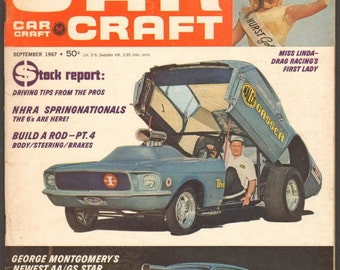 Car Craft Magazine Sept 1967 Miss Linda Vaughn Drag Racing's 1st Lady Roadsters New Pistons NHRA Springnationals Plymouth 440s automobiles