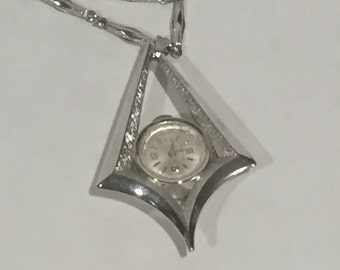 Vintage Silver Watch Pendant Necklace 17 Jewels Watch Necklace