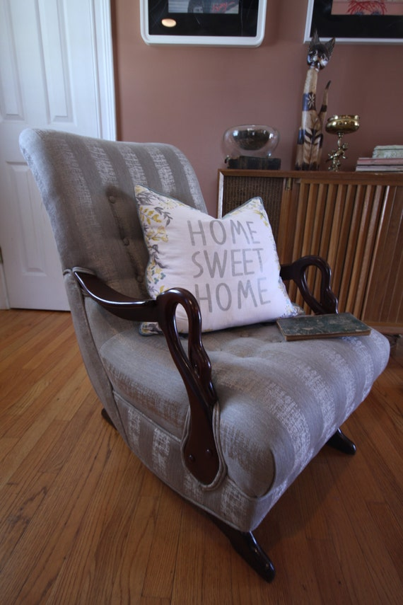 Restored 1930 S Swan Arm Gooseneck Rocking Chair By
