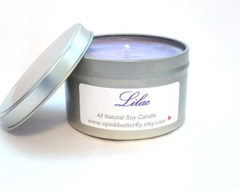 Lilac Soy Candle - 8 oz Scented Handmade Hand-Poured Natural Vegan Soy Wax Candle - Eco-Friendly Recyclable Tin
