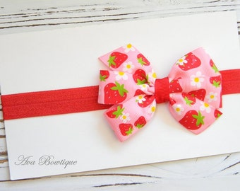 Summer Bow Headband - Baby Bow Headband - Strawberry Bow Headband - Girls Strawberry Headband