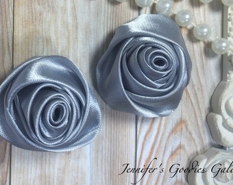 "Set of TWO Gray 2"" Satin Rosette Flower Heads, Rolled Roses Wholesale Mini Rosettes for Baby Headbands"