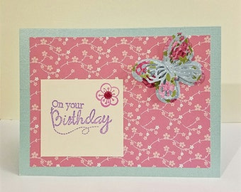 Handmade Butterfly 3D Birthday Card, pink flowers, birthday card for her, someone special