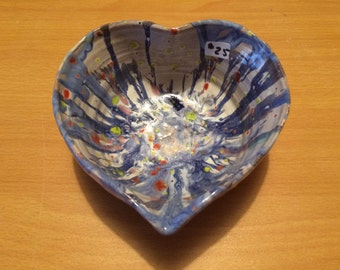 Pottery heart bowl